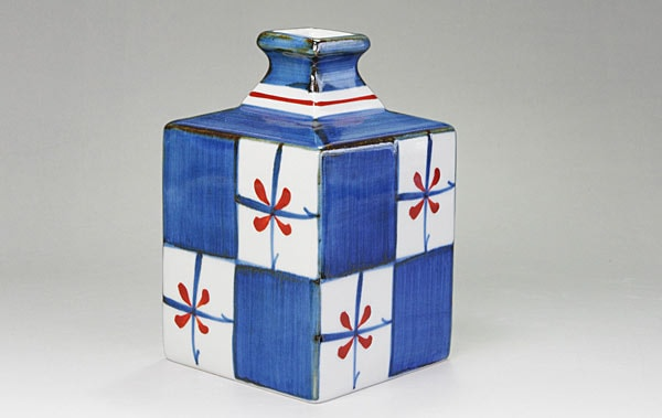 砥部焼き 花瓶 角瓶