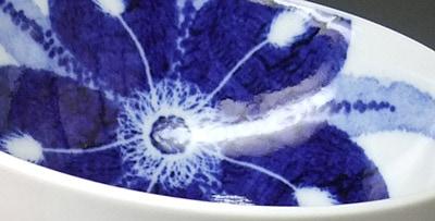 砥部焼 きよし窯 茶碗 カトレア文