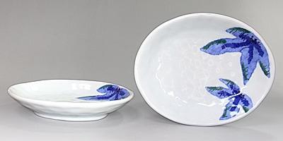 きよし窯 楕円皿 葉模様