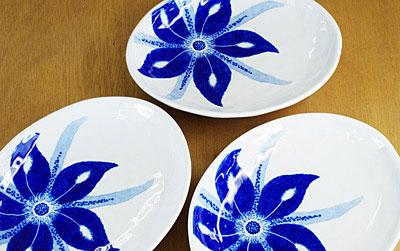 砥部焼き きよし窯 楕円皿 カトレア