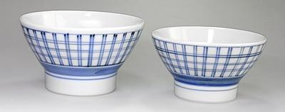 和食器 夫婦茶碗 格子呉須巻文