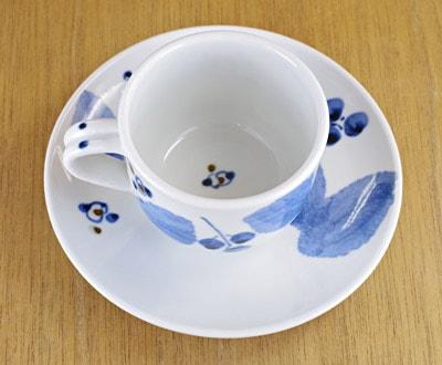 コーヒーカップ ブルー木の葉