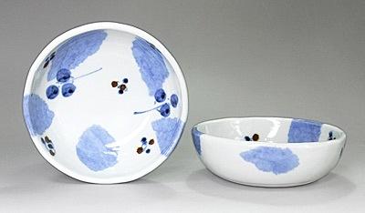 砥部焼き 森陶房 布目小鉢 ブルー木の葉