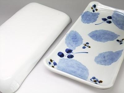 森陶房 角皿 ブルー木の葉文