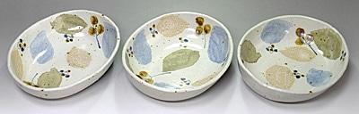 楕円カレー皿 木の葉文