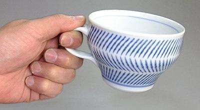 砥部焼 スープカップ 持ったところ