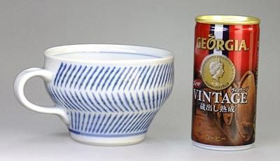 砥部焼 中田窯 スープカップ はけめ