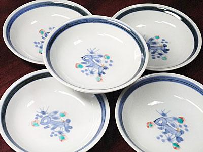 和食器の丸皿、うさぎ文