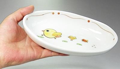 砥部焼 大西陶芸 こども用楕円鉢 ひよこ朱