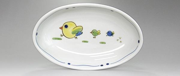 砥部焼 こども食器 楕円鉢