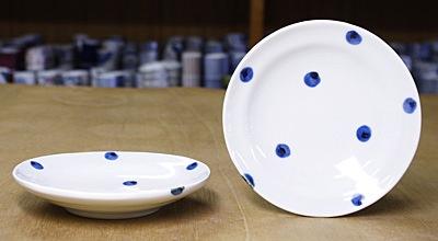 5寸丸皿 点文 水玉