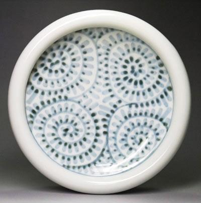 砥部焼、蛸唐草文の玉縁鉢
