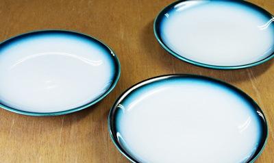砥部焼 ヨシュア工房 5寸丸皿 ヨシュアブルー