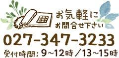 お気軽にお問合せ下さい TEL:027-347-3233