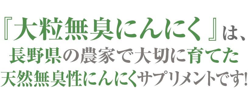 大粒無臭にんにくは、長野県の農家で大切に育てた天然無臭性にんにくサプリメントです。