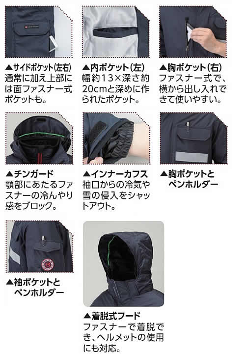 防寒着 防寒コート  M〜3L (WT-38NB) 静電防水タイプ 【防寒対策用品/寒さ/積雪/除雪/寒冷地/作業着】