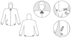 【防護服/保護服】 タイベックジャンパー フード付 2010B 【作業服】