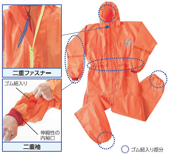 化学防護服/保護服 シゲマツ マイクロケム5000 (1着) S〜XXLサイズ 【重松製作所/タイベック/防塵服/放射能】