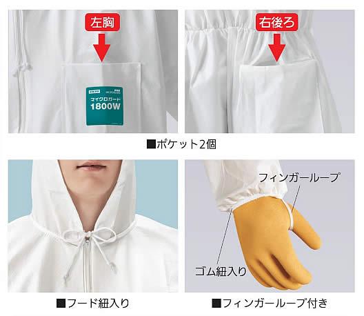 化学防護服/保護服 シゲマツ マイクロガード1800W (1着) M〜XXLサイズ 【重松製作所/タイベック/防塵服/放射能】