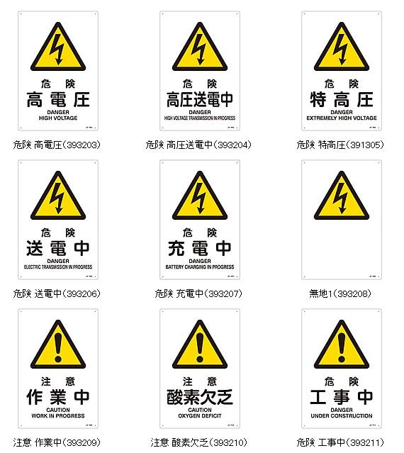 電圧・警告・注意標識 縦型Sサイズ300×225mm