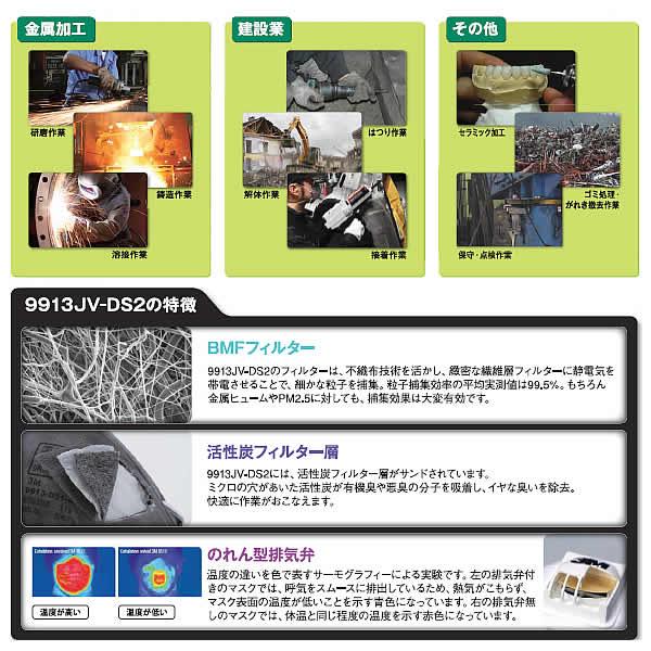 使い捨て式防じんマスク9913JV-DS2 (10枚入) (3M/スリーエム)