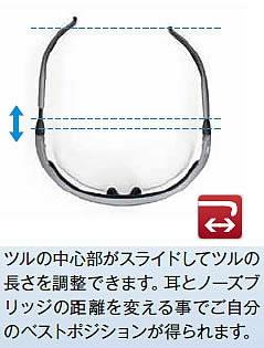 保護めがねツルの長さ調整機能