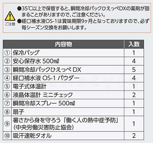【熱中症対策/暑さ対策】熱中対策応急キット DX(HO-96)【作業/応急処置/予防セット】