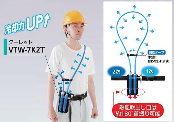 【熱中症対策/暑さ対策】 個人用冷却器クーレットチューブタイプ VTW-7K2T 本体ダブルタイプ 【作業/炎天下/クールベスト/体を冷やす】