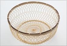 手編みかご 銅(金メッキ)×竹|大