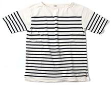 ボートネックボーダー半袖Tシャツ ホワイト