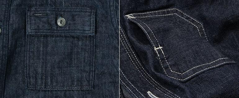 Wエルボーデニムシャツとデニムワークシャツのポケットの比較