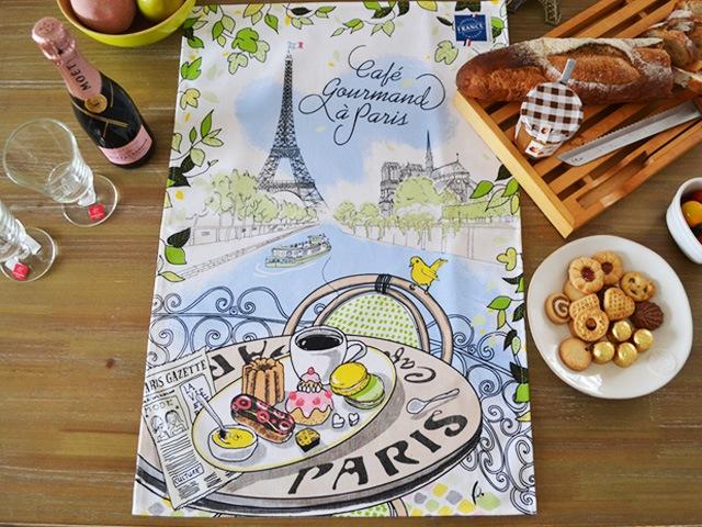 エッフェル塔とカフェのおしゃれなティータオル・キッチンクロス・ランチョンマット