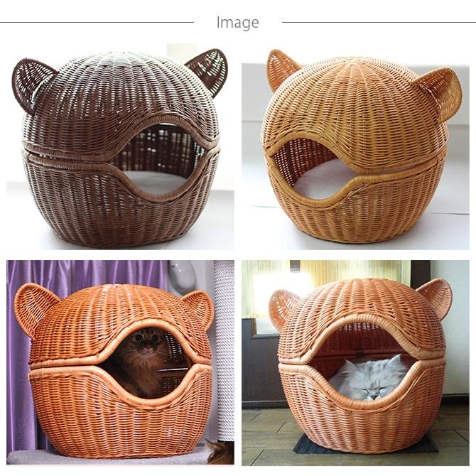 ラタン ピーナッツベッド  キャットベッド 猫用ベッド ベッド ハウス クッション 犬用 かわいい おしゃれ 猫用 ネコ いぬ 犬 イヌ