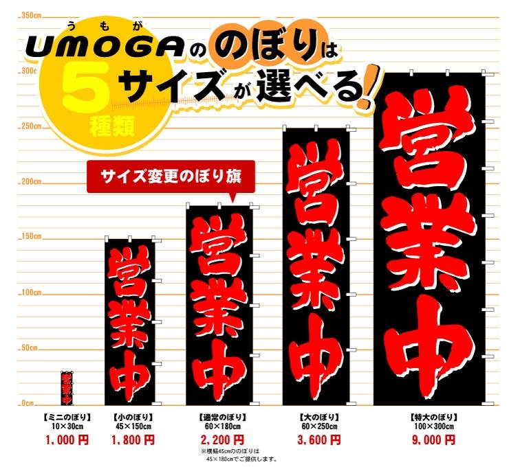 UMOGAののぼりはサイズが選べる! サイズ変更のぼり旗