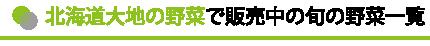 北海道大地の野菜で販売中の旬の野菜一覧