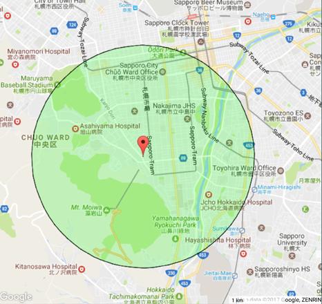 マカリイズマーケットより半径3km地図