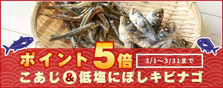 ポイント5倍キャンペーン 3/1~3/31までこあじ&低塩にぼしキビナゴ