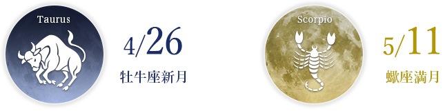 4/26牡牛座新月 5/11蠍座満月