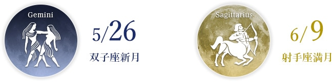 5/26 双子座新月 6/9 射手座満月