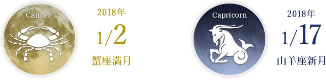 2018年1/2 蟹座満月 2018年1/17 山羊座新月