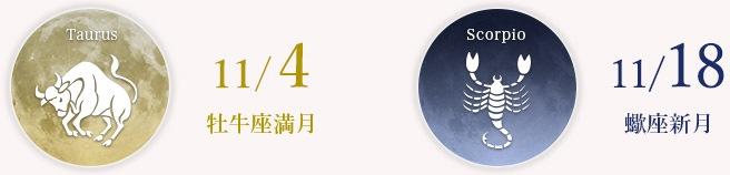 10/14 牡牛座満月 11/18蠍座新月