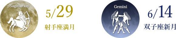 5/29 射手座満月 6/14 双子座新月