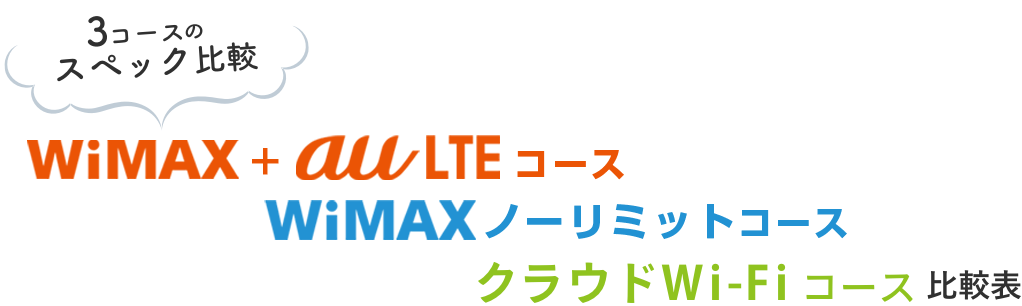 3コースのスペック比較 WiMAX auLTEコース WiMAX ノーリミットコース クラウドWi-Fi 比較表