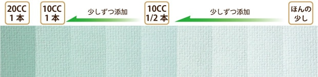 MOEGU COLORグリーンの塗装サンプル