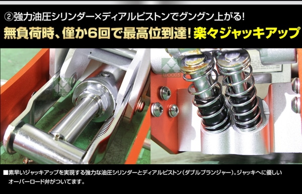 NOS アルミジャッキ特徴 強力油圧シリンダー、デュアルピストン