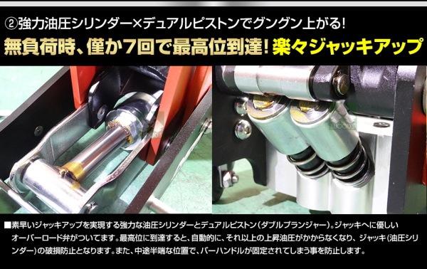 NOS 3トン アルミジャッキ 特徴 強力油圧シリンダー、デュアルピストン