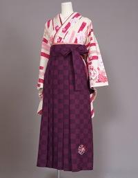 格安!袴レンタル 成人式 卒業式 JS ピンク牡丹と絣 LL 【送料無料】 s-18