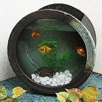 丸型陶器水槽(黒)
