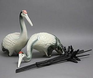 つる置き物 庭用鶴一対 陶器ツル 信楽焼