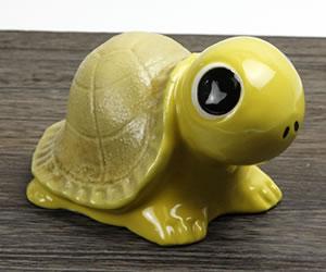 可愛いカメの置き物 陶器かめ しがらきやき亀